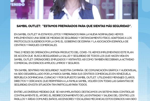 """SAMBIL OUTLET: """"ESTAMOS PREPARADOS PARA QUE SIENTAS MÁS SEGURIDAD"""""""