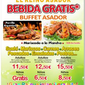 Disfruta de nuestro buffet asador con bebida gratis en El Reino Asador